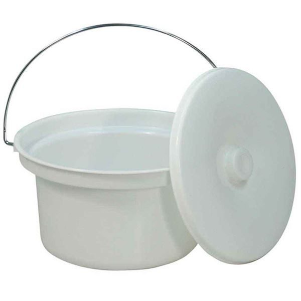Round commode bucket with lid